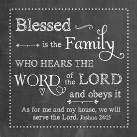 "Night Light Insert-Chalkboard-Blessed Is The Family-Joshua 24:15 (4"" Square)"