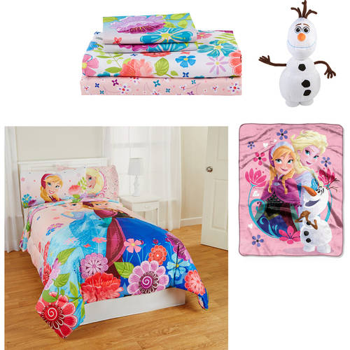 Frozen 4 pc. Bedding Set- Reversible Comforter, Sheets, Olaf or Elsa Pillow Buddy and Frozen Throw
