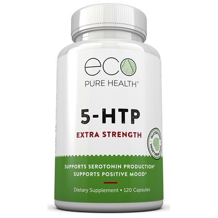 5 Htp Extra Strength Dietary Supplement  Supports Positive Mood  Sleep   Relaxation  Supports Serotonin Production  120 Capsules By Eco Pure Health