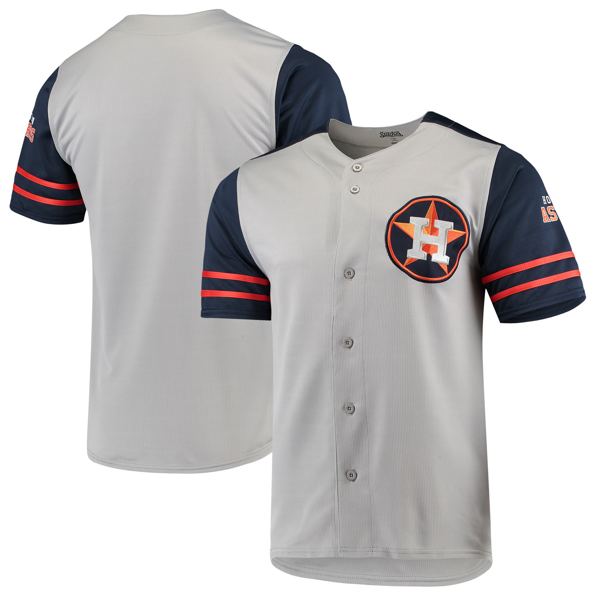 Houston Astros Stitches Button-Up Jersey - Gray/Navy