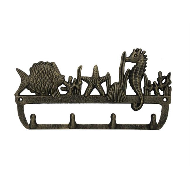 Handcrafted Model Ships G-54-707-GOLD 12 inch Cast Iron Wall Mounted Seahorse And Fish Hooks - Rustic Gold