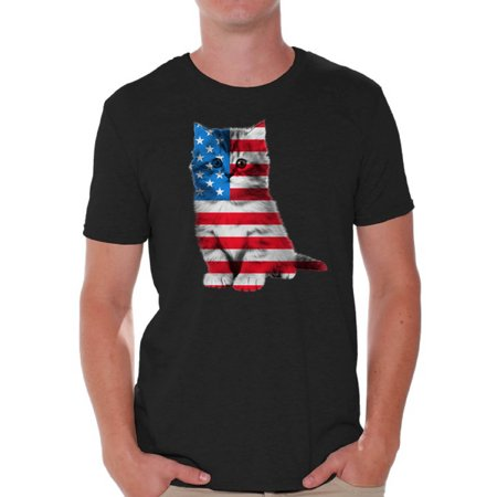 Awkward Styles Men's USA Flag Cat Graphic T-shirt Tops Cute 4th of July Gift American Flag (Cute Fourth Of July Shirts)