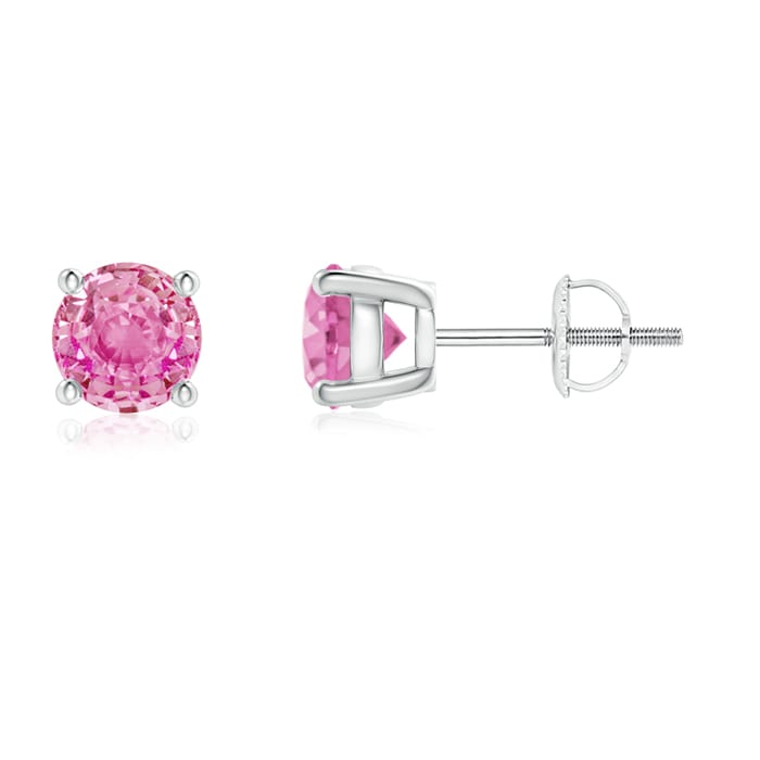 Angara Classic Basket-Set Square Pink Sapphire Stud Earrings in Platinum WqG0oC