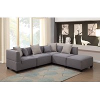 Product Image Holly Collection 5 Piece Modern Linen Fabric Upholstered L Shaped Living Room Tuxedo Sectional Sofa