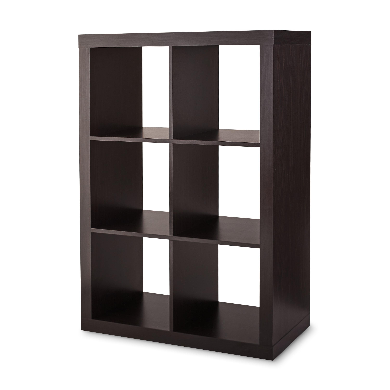 11/'/' 6 Cube Organizer Shelf White Espresso Horizontal or Vertical Use Storage