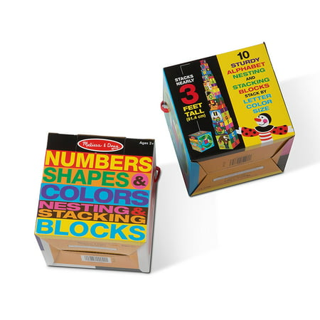 Melissa & Doug Nesting Blocks (Set of 2) - Alphabet and Numbers, Shapes and Colors
