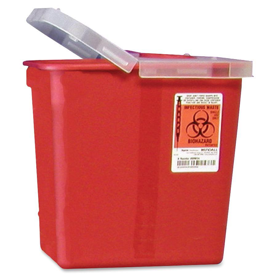 Covidien, CVDSRHL100990, Kendall Sharps Containers with Hinged Lid, 1, Red