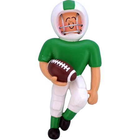 Playing Football Green Uniform Personalized  Christmas Ornament - Personalized Football Ornaments