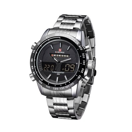 NAVIFORCE Stainless Steel 3ATM Waterproof Fashion Wristwatch Dual Time Quartz Sports Men Watch with Function of Backlight Alarm Calendar Stopwatch - image 1 of 1