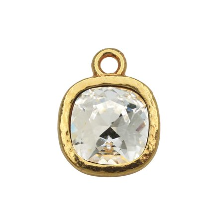 - TierraCast Pewter Frame Pendant, with 10mm Swarovski Crystal Cushion, 1 Piece, Bright Gold Plated