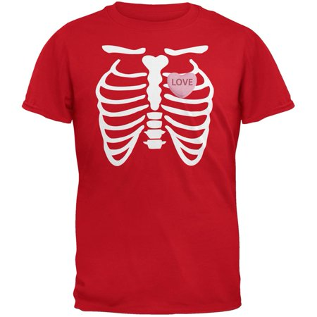 Skeleton Love Candy Heart Red Adult T-Shirt](Skeleton Tshirt)