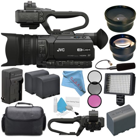 Camera Unit (JVC GY-HM170UA 4KCAM Compact Professional Camcorder with Top Handle Audio Unit + BNV-F823 Replacement Lithium Ion Battery + External Rapid Charger + JVC QAN0067-003 Microphone)