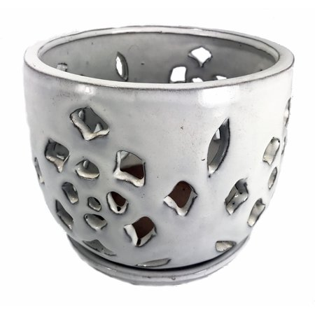 Flower Cut Glazed Ceramic Orchid Pot/Saucer - White - 7.5