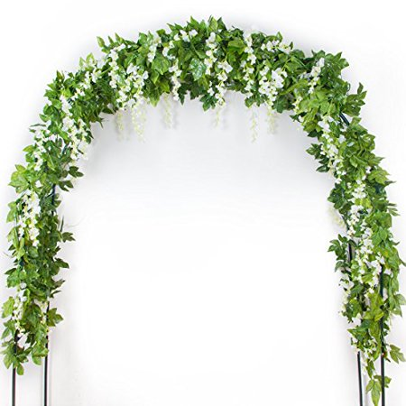 Mavee 4pcs Artificial Wisteria 29ft Silk Flower Garland Hanging Rattan with Green Ivy Leaf Vine for Wedding Garden Party Home Decoration (White)