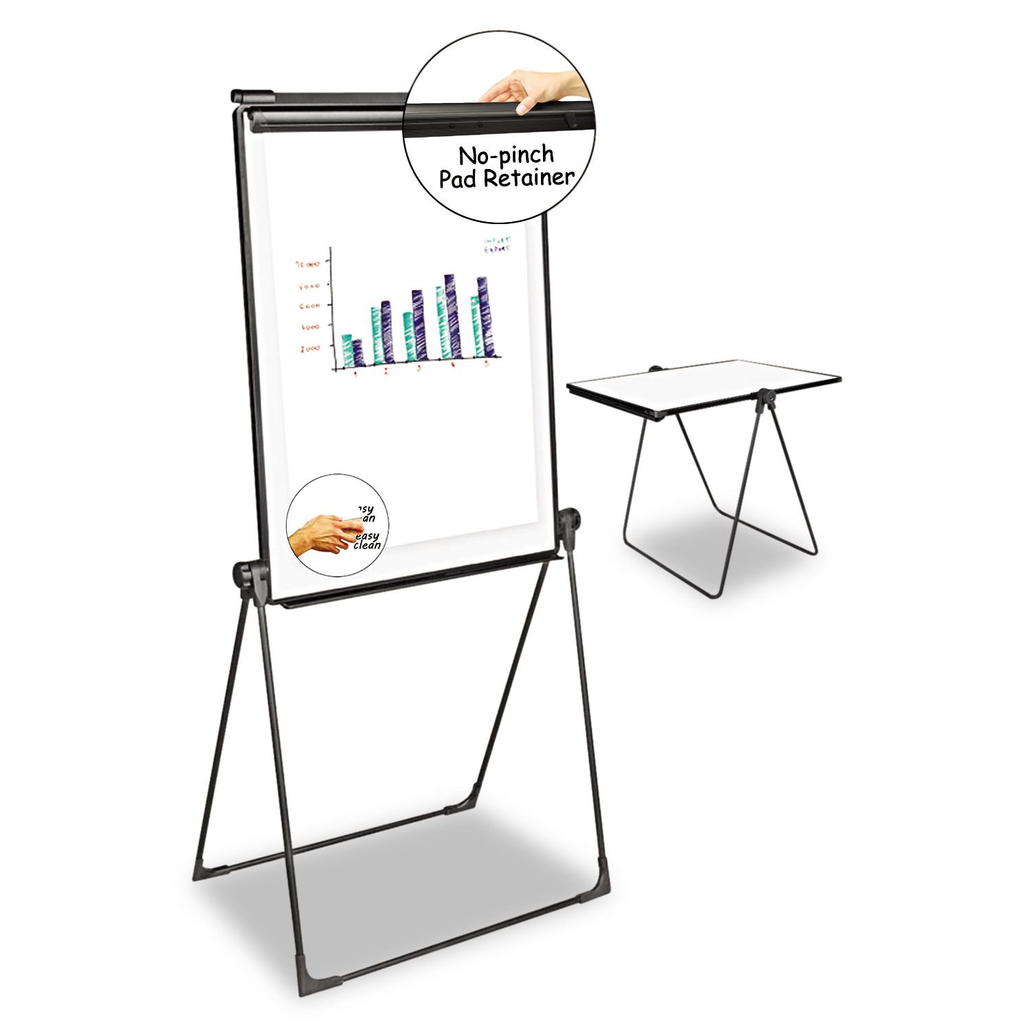 Universal Foldable Double-Sided Dry Erase Easel, Two Configurations, White Board: 29 x 41 -UNV43030