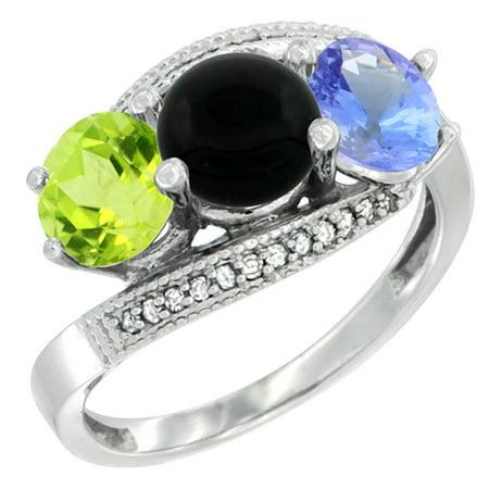 10K White Gold Natural Peridot, Black Onyx & Tanzanite 3 stone Ring Round 6mm Diamond Accent, size 5.5 Black Onyx 3 Stone Ring