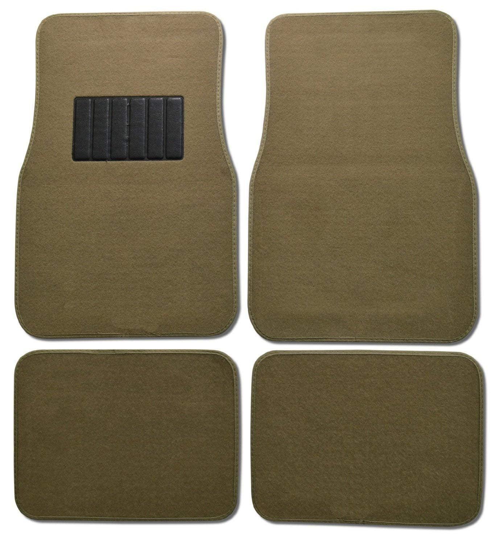 Premium Carpet 4PC Front & Rear Driver Passenger Floor Mats Cars Trucks Sedans SUVs (Tan)