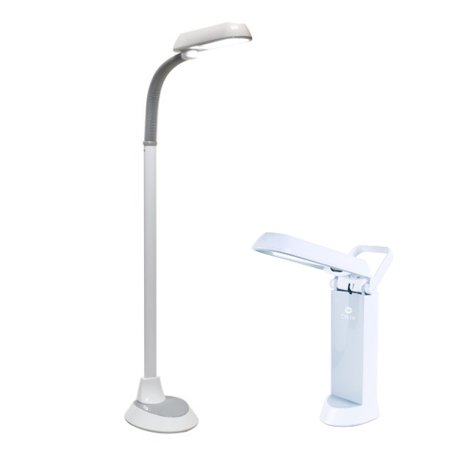 OttLite 18 Watt Floor Lamp an 13 Watt Desk Lamp Combo in White