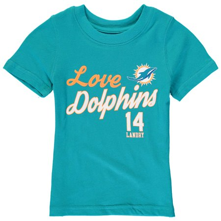 Jarvis Landry Miami Dolphins Girls Youth Glitter Live Love Team Player Name & Number T-Shirt - Aqua - Team Aqua Cosplay