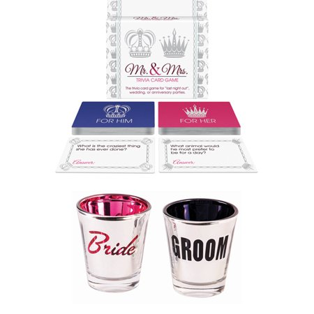 Bridal Shower Party Wedding Favors- Couples Bride and Groom Shot Glasses & Do You Know The Bride Groom Trivia Game