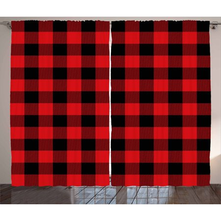 Red Plaid Curtains 2 Panels Set Lumberjack Clothing Inspired Square Pattern Checkered Grid Style Quilt