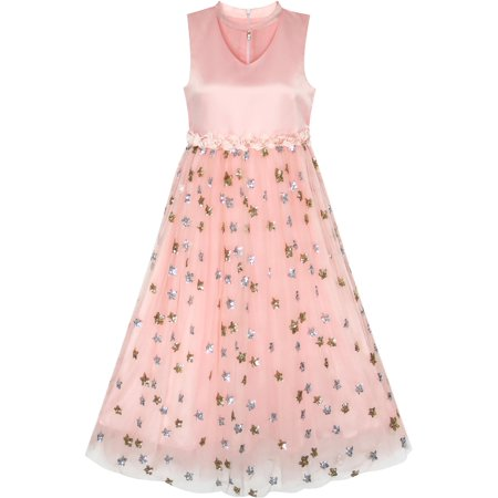Flower Girls Dress Sparkling Sequins Star Pearl Wedding Party 7 (Star Dress)