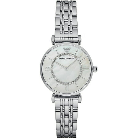Mother Of Pearl Silver Wrist Watch - Emporio Armani Women's Retro Mother of Pearl Crystal Stainless Steel Watch AR1908