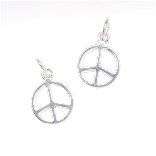 Sterling Silver Charm Sleek Peace Sign 13mm