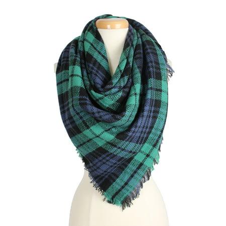 Gucci Gg Pattern Scarf - Women's Warm Plaid Pattern Tartan Multi Color Scarf for Cold Fall Winter Season for Women