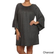 MOA Collection Women's Plus Size Solid Dress CHARCOAL-2XLARGE