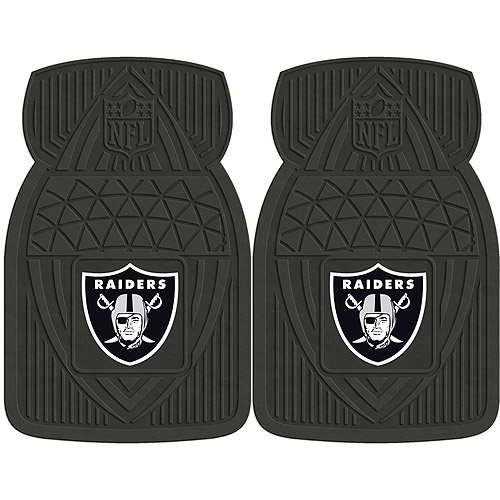 NFL 2-Piece Heavy-Duty Vinyl Car Mat Set, Oakland Raiders