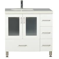 "Design Element Westfield 36"" Single Sink Bathroom Vanity in White with White Sparkling Quartz Countertop"