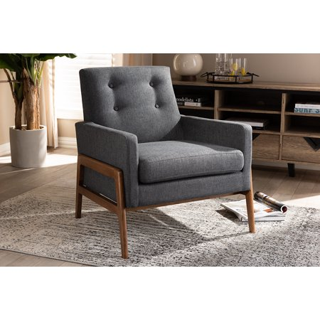 Baxton Studio Perris Mid-Century Modern Dark Grey Fabric Upholstered Walnut Wood Lounge Chair