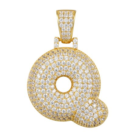Initial Bubble Letter Q Pendant Custom Gold Tone Solitaire Simulated Diamond Charm Initial