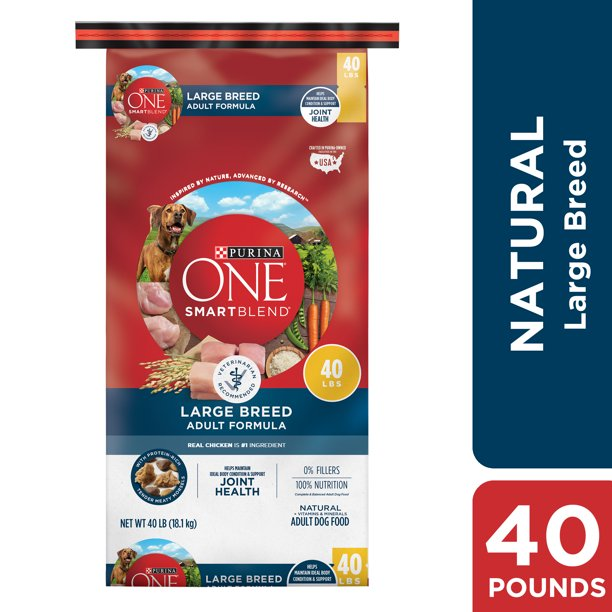 Purina ONE Natural Large Breed Adult Dry Dog Food, SmartBlend Formula, 40 lb. Bag
