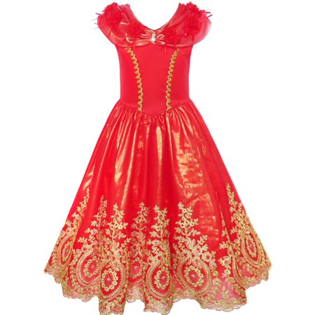 Girls Dress Red Princess Costume Maxi Fancy Wedding Pageant 6 (Halloween School Girl Fancy Dress)