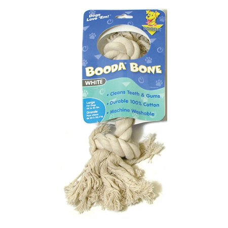 Booda Products-2 Knot Rope Bone Dog Toy- White Large
