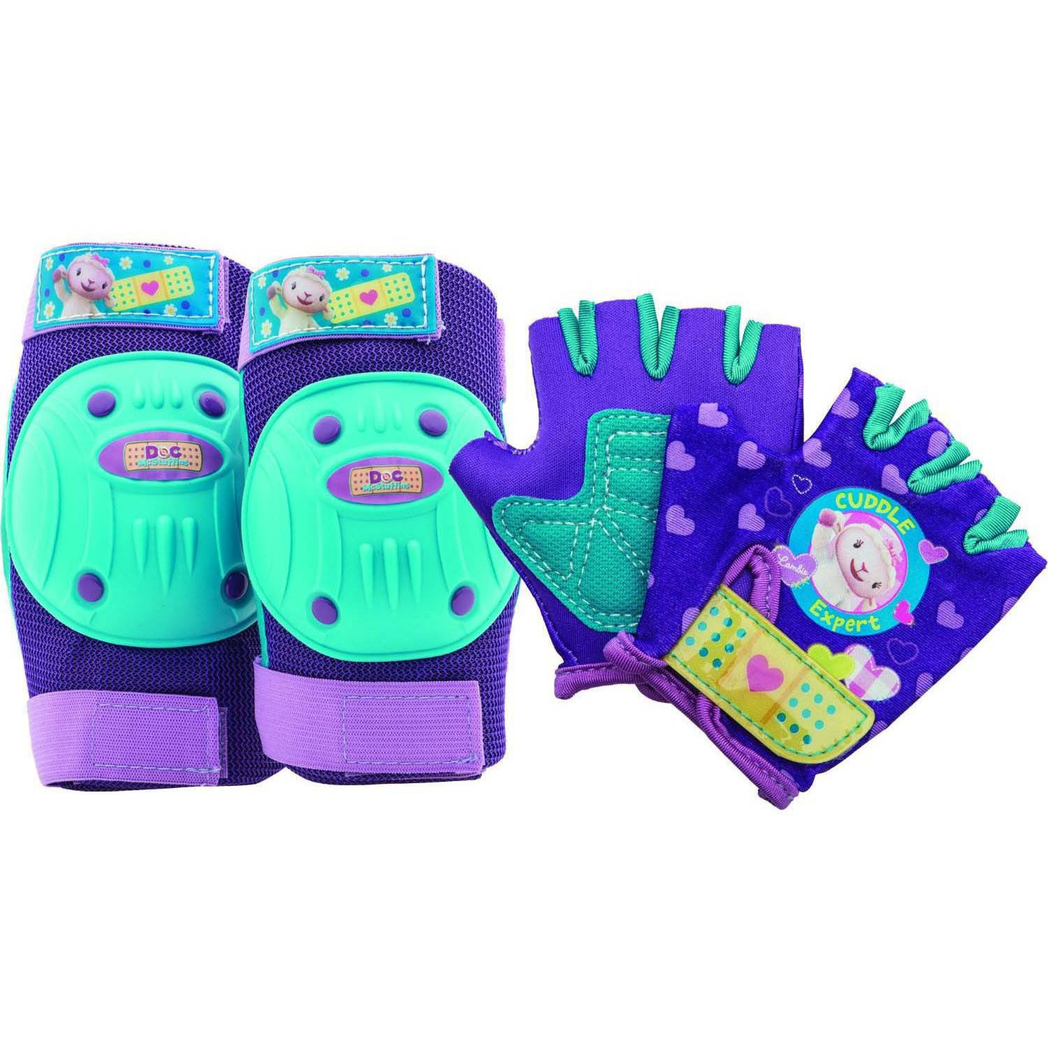 Bell Sports Disney Doc McStuffins Toddler Protective Pad and Glove Set, Purple/Teal