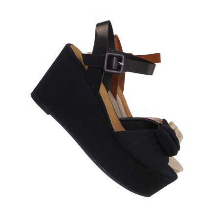 Twins03 by Bamboo, Platform Wedge Linen Sandal - Women Bow Ankle Strap Summer