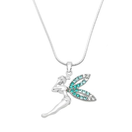 Tinkerbell Heart Charm - Tinkerbell Pendant Necklace Rhinestone Crystal Rhodium High Polished J0199-AQ