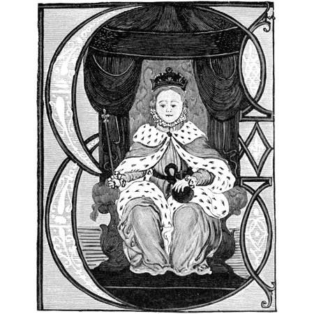 Elizabeth I (1533-1603) Nqueen Of England And Ireland 1558-1603 Engraving After An Illuminated Initial In The Statutes Of Order Of St Michael And St George 1558 Rolled Canvas Art -  (24 x