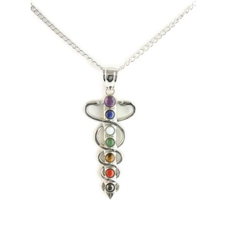 Chakra Energy Stone Pendant Necklace  18  Chain With 3  Extender  Celtic Snake