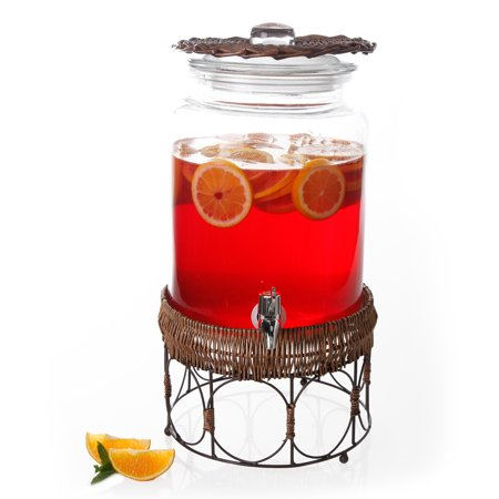 Gibson Home Springerville Glass Drink Dispenser with Brown Basket, 1.58 Gallons, Glass