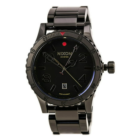 Nixon A2771883 Men's Diplomat SS Black Dial Black IP Steel Bracelet GMT Dive Watch ()