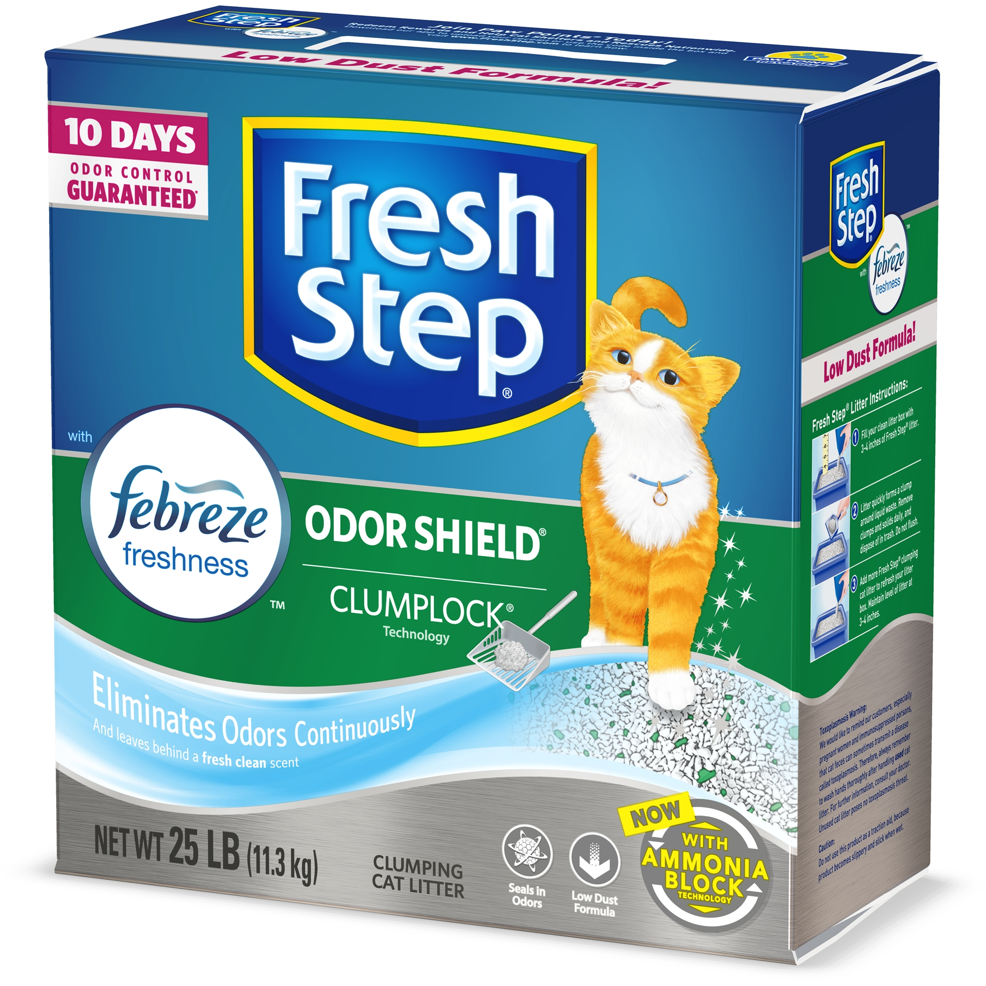 Fresh Step Odor Shield Scented Litter with the Power of Febreze, Clumping Cat Litter, 25 lbs