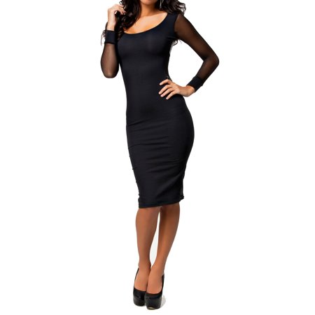 Sheer Mesh See-Through Long Sleeves Midi Cross Dress set with lace panties Mesh Dress Set
