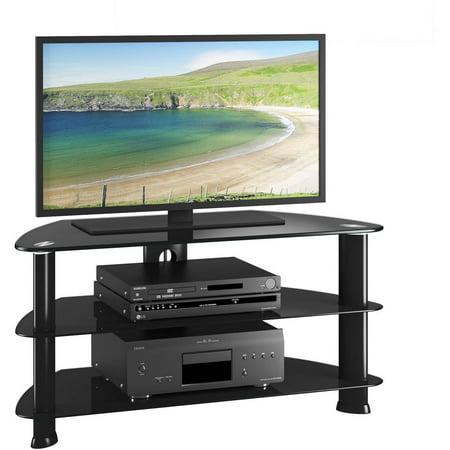 CorLiving Laguna Satin Black Corner TV Stand for TVs up to 50