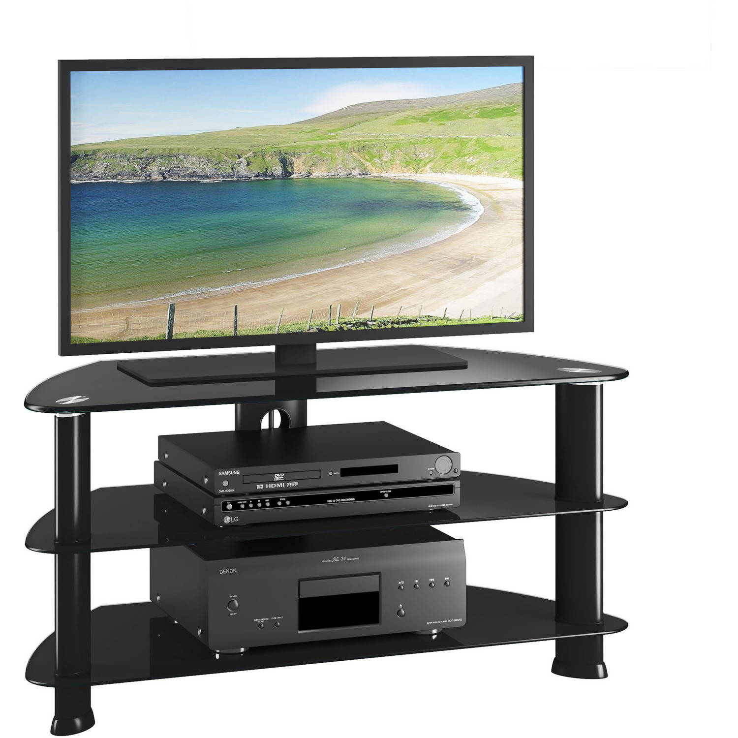 CorLiving Laguna Satin Black Corner TV Stand for TVs up to 50""