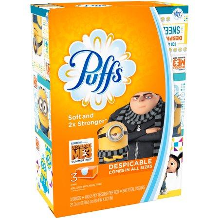 Puffs® White Facial Tissue 3 ct Pack