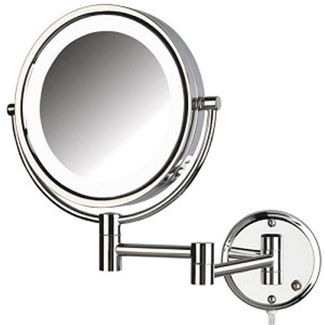 Jerdon Style HL88CL 8. 5 inch .  8X-1X LED Lighted Wall Mirror, Extends 13. 5 inch, Chrome Finish